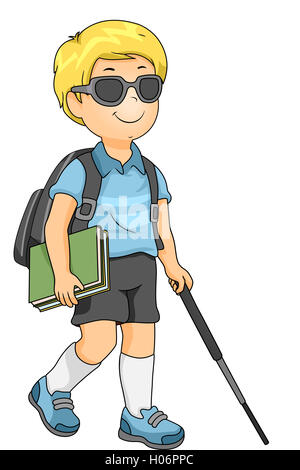 A Visually Impaired Blind School Boy Struggling To Use A