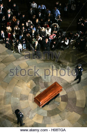 The casket of Rosa Parks rests in the Rotunda of the U.S. Capitol Building in Washington, D.C., October 30, 2005. - Stock Photo