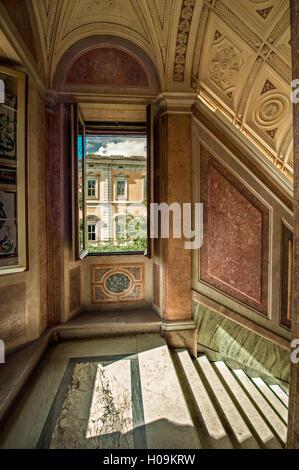Foreshortening of the first floor of Villa Farnesina in Rome - Stock Photo