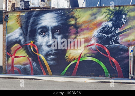 Folk art wall mural in pinones puerto rico stock photo for Bob marley mural san francisco