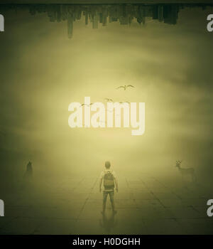 Surrealistic image with a man standing in a foggy street below a city buidings choosing the correct way - Stock Photo