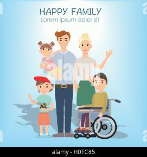 Portrait of four member happy family posing together - Stock Photo