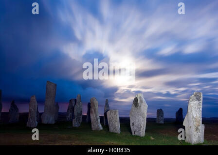 PICTURE CREDIT DOUG BLANE Callanish Stone Circle at night during full moon Isle of Lewis Outer Hebrides Western - Stock Photo