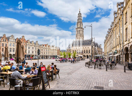 Pavement cafes on La Place des Héros looking towards the Town Hall, Arras, Pas de Calais, France - Stock Photo