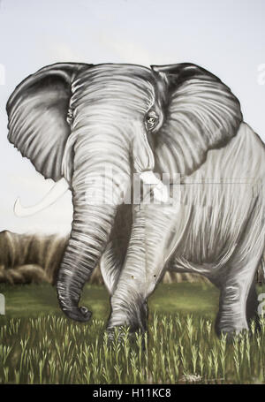 Elephant in jungle drawn on the wall, decoration - Stock Photo