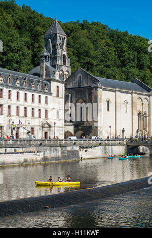 The Benedictine abbey abbaye Saint-Pierre de Brantôme and its bell tower along the river Dronne, Dordogne, Aquitaine, - Stock Photo