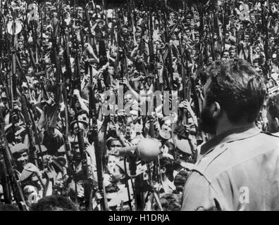 Cuban Revolution leader and Prime Minister Fidel Castro giving a speech in Central Havana on April 16, 1961 (the - Stock Photo