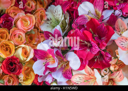 Silk Flowers , Old City Center Nice, Vieille Nice, Alpes Maritimes, Provence, French Riviera, Mediterranean, France, - Stock Photo