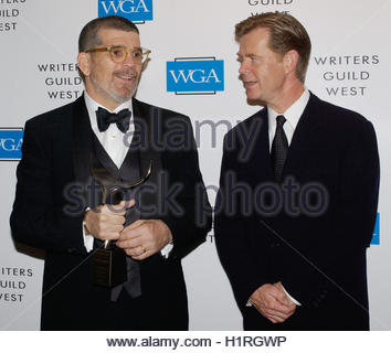 Screenwriter and playright David Mamet holds the screen laurel award he received at the 57th annual Writers Guild - Stock Photo