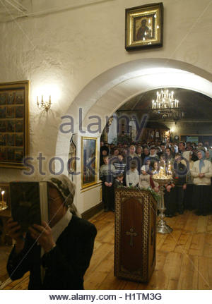 Russian President Vladimir Putin attends a Christmas service in the ancient Church of Nativity of the Virgin in - Stock Photo
