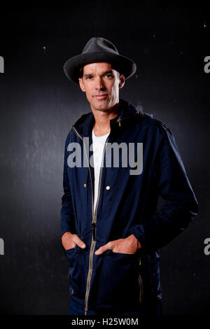 David Millar, the Scottish former professional road racing cyclist and writer, at the Edinburgh International Book - Stock Photo