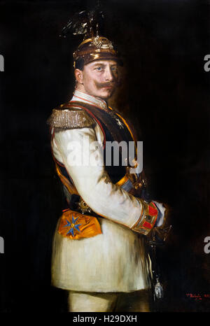 Portrait of Kaiser Wilhelm II (1859-1941), Emperor of Germany and King of Prussia, in dress uniform.  Painting by - Stock Photo