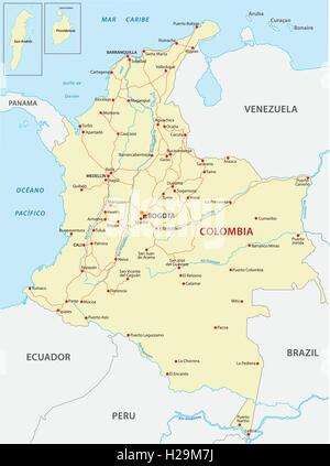 Map of Peru Ecuador Colombia and Venezuela Stock Photo 43389392