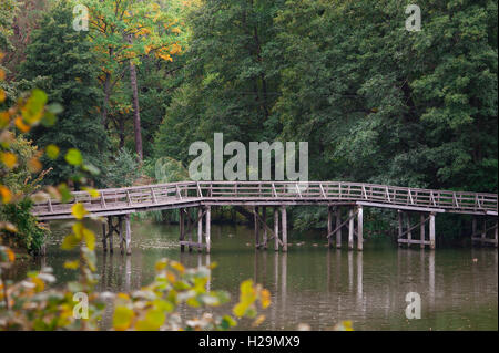 Wooden bridge over the river in summer park - Stock Photo
