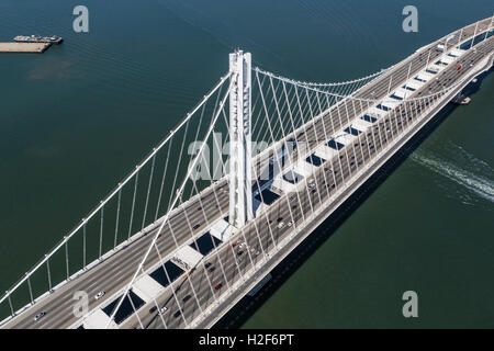 Aerial view of the San Francisco to Oakland Bay Bridge suspension tower. - Stock Photo