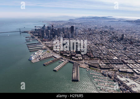 Aerial view of San Francisco city and bay. - Stock Photo