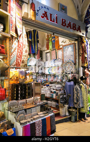 ISTANBUL, TURKEY - MAY 21, 2016: Grand Bazaar in Istanbul with unidentified people. It is one of the largest and - Stock Photo