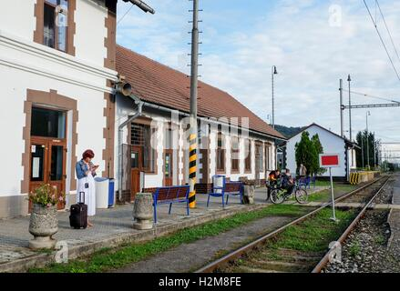 People at the train station in Zarnovica, Slovakia - Stock Photo