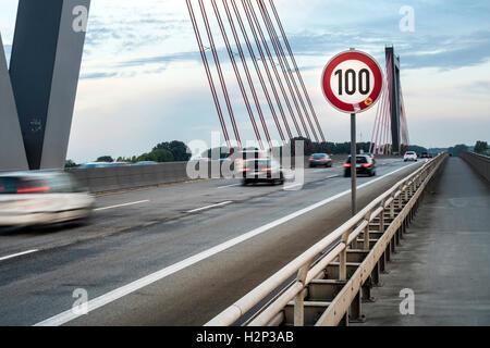 Speed limit 100 km / h on the motorway bridge near Düsseldorf - Stock Photo