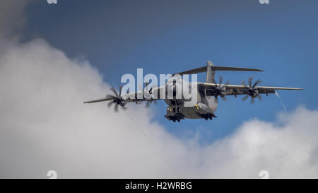 Farnborough, UK - 6th July 2016: An Airbus A400M Atlas military transport in flight at Farnborough Airshow - Stock Photo