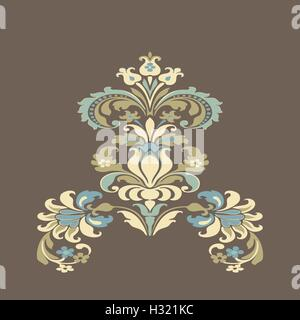 Vector colorful damask floral element design pattern background. Elegant luxury texture color trend. - Stock Photo