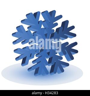 The blue isolated snowflake - Stock Photo