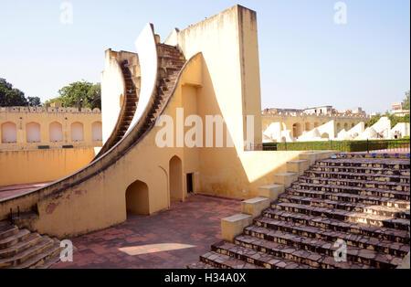 Astronomical instrument at jantar Mantar-Jaipur,Rajasthan,India - Stock Photo
