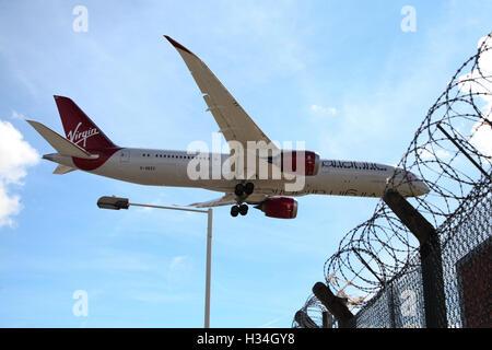 Virgin Atlantic Airways (Boeing 787-9 Dreamliner ) landing at London Heathrow Airport. - Stock Photo