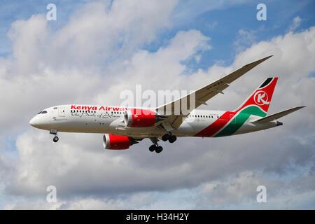 Kenya Airways - Boeing 787-8 Dreamliner approaching London Heathrow airport. - Stock Photo