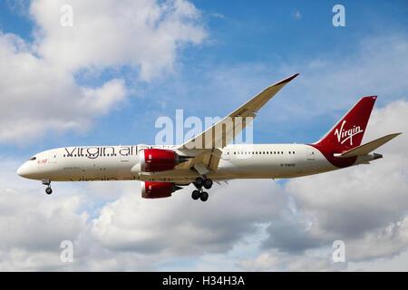 Virgin Atlantic Airways Boeing 787-9 Dreamliner approaching London Heathrow airport. - Stock Photo