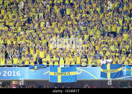fans of swedish team during the euro u21 soccer championship stock photo royalty free image. Black Bedroom Furniture Sets. Home Design Ideas