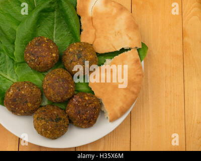 Falafel with salad top view - Stockfoto