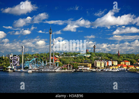 Djurgarden island and Tivoli Grona Lund (Luna Park) Stockholm, Sweden - Stock Photo