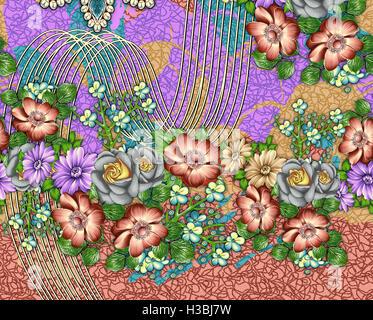 flower spring seamless pattern - Stock Photo