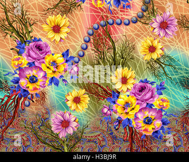 flower spring seamless pattern - Stock Photo