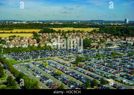 Aerial view of a parking place near Heathrow of London, United Kingdom - Stock Photo