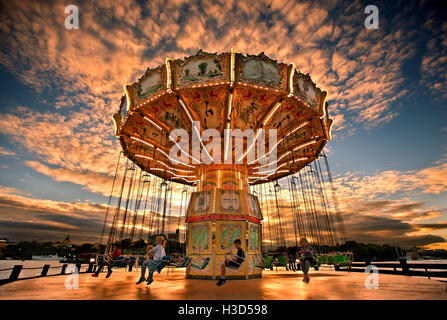 Tivoli Grona Lund (Luna Park) around sunset, Djurgarden, Stockholm, Sweden - Stock Photo