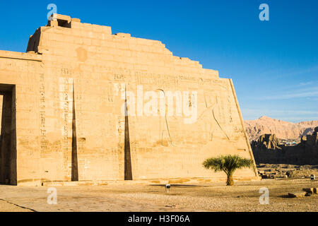 Wall relief with Ramses III and Ra, Mortuary Temple of Ramesses III at Medinet Habu, a New Kingdom period structure - Stock Photo