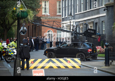London, UK. 8th October, 2016. Filming of the new Transformers film in Downing Street on the steps of No10 Credit: - Stock Photo