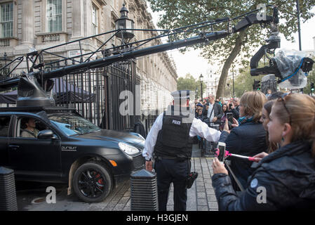 London, UK. 8th October, 2016. Filming of the new Transformers film in Downing Street on the steps of No10,A camera - Stock Photo