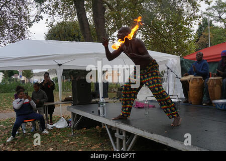 London, UK. 8th October, 2016. The Fireman preforms at The Tottenham Green Multicultural Festival,London,UK. Photo - Stock Photo