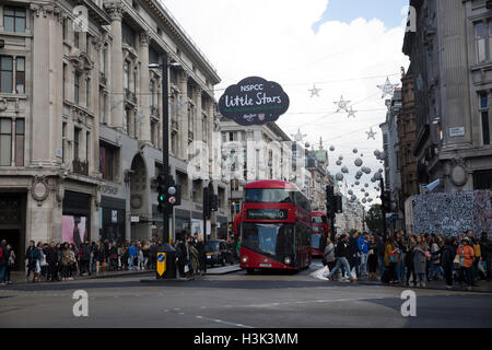 London,UK,8th October 2016,World famous Christmas lights are put up in Oxford Street London©Keith Larby/Alamy Live - Stock Photo