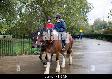 London,UK,8th October 2016,Two ladies enjoy a horse ride despite the rain in Hyde Park London©Keith Larby/Alamy - Stockfoto