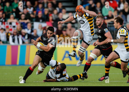 Barnet Copthall, London, UK. 09th Oct, 2016. Aviva Premiership Rugby. Saracens versus Wasps. Sean Maitland of Saracens - Stockfoto