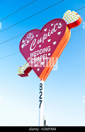 Cupids Wedding Chapel, Downtown Las Vegas, on corner of Las Vegas Blvd and Hoover Ave - Stock Photo