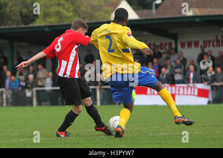 Joey May scores the fourth goal for Hornchurch - AFC Hornchurch vs Wealdstone - FA Challenge Cup 3rd Qualifying - Stock Photo