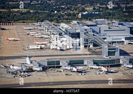 London Gatwick Airport Crawley Surrey aerial view North Terminal - Stock Photo