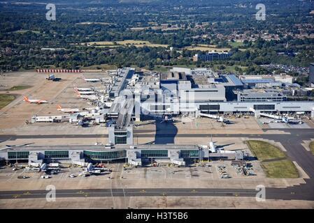 London Gatwick Airport Crawley Surrey aerial view - Stock Photo