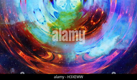graphic concept of music in space, cosmic sound waves, computer design, music concept. - Stock Photo