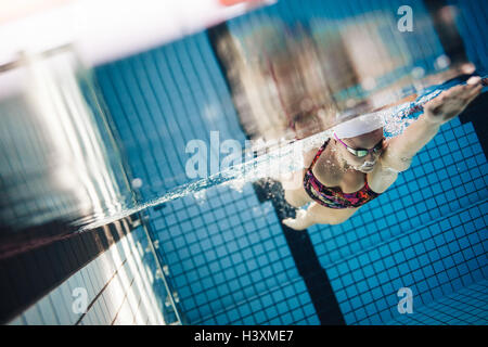 Underwater shot of female athlete swimming in pool. Young woman swimming the front crawl style in a pool. - Stockfoto